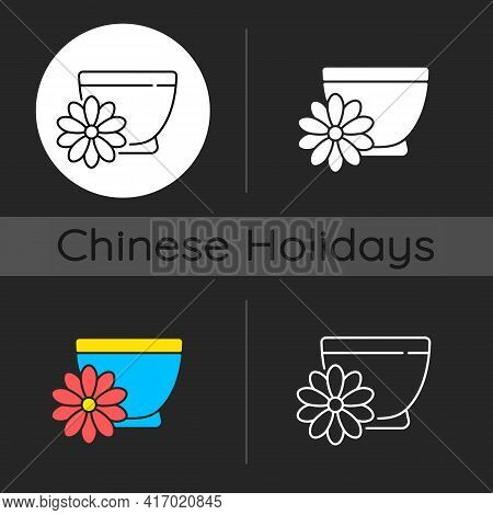 Chrysanthemum Tea Dark Theme Icon. Double Ninth Festival. Flower-based Infusion Drink. Traditional M