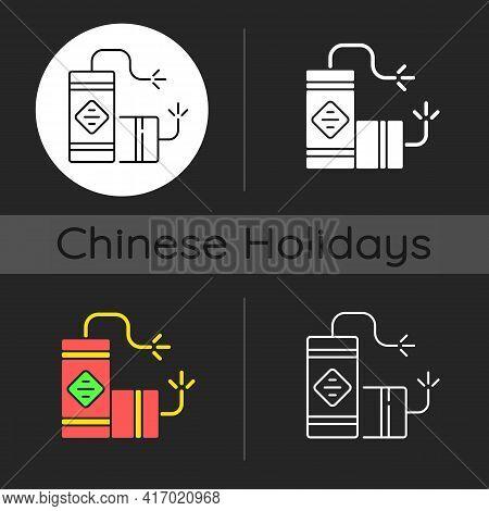 Fireworks Dark Theme Icon. Chinese New Year. Lighting Firecrackers. Scaring Away Evil Spirits. Celeb