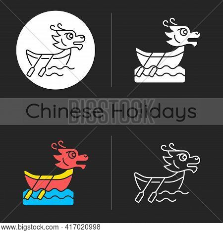 Dragon Boat Festival Dark Theme Icon. Tuen Ng. Ornately Carved Boats. Sacred Ceremony. Ancient Ritua