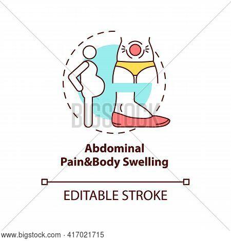 Abdominal Pain And Body Swelling Concept Icon. Liver Disease Symptom Idea Thin Line Illustration. Sw