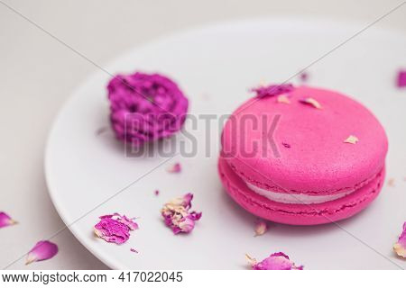 Rose Flavour Macaroon Close Up On A Plate On Grey Pastel Background.