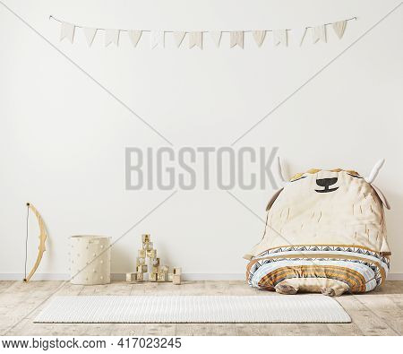 Children Playroom Interior In Indian Country Style With Toys, Kids Room Wall Mock Up, 3d Rendering