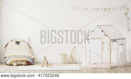 Children Playroom Interior In Country Style With Tent, Soft Armchair And Toys, Stylish Kids Room Int