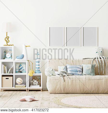 Blank Poster Frame Mock Up In Modern Kids Bedroom Interior Background, Scandinavian Style, 3D Rendei