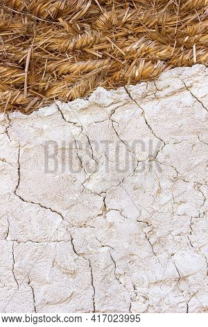 Background A Fragment Of A Wall Made Of Straw Hay And Dried Clay, Traditional Rural House Of Histori