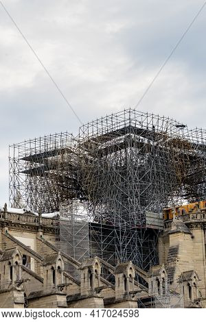 Paris Notre Dame Cathedral Church Re-construction Work After Fire