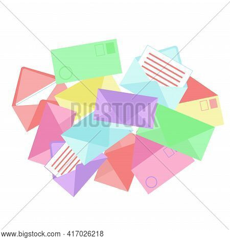 Envelopes Stack. Top View. Multicolored Mail Envelopes Are Lying Randomly. Vector Illustration.