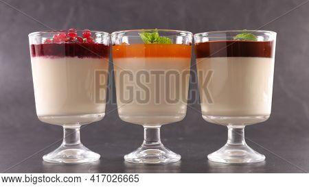 glasses of panna cotta- italian dessert