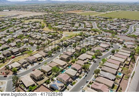 Aerial Drone View Of Small Town On Desert Residential Area Of A Neighborhood With Avondale Town Ariz