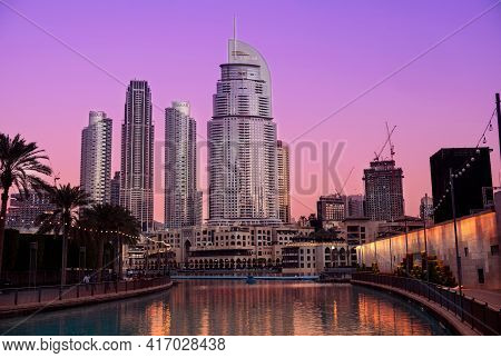 14th Dec 2020,dubai,uae . Beautiful View Of The Address Hotel, Souk Al Bahar ,the Dubai Mall, The An