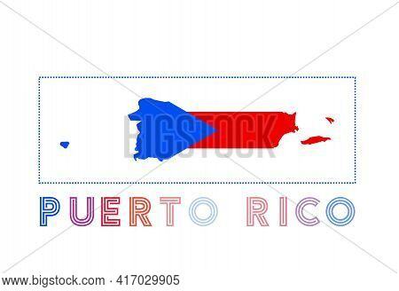 Puerto Rico Logo. Map Of Puerto Rico With Country Name And Flag. Elegant Vector Illustration.