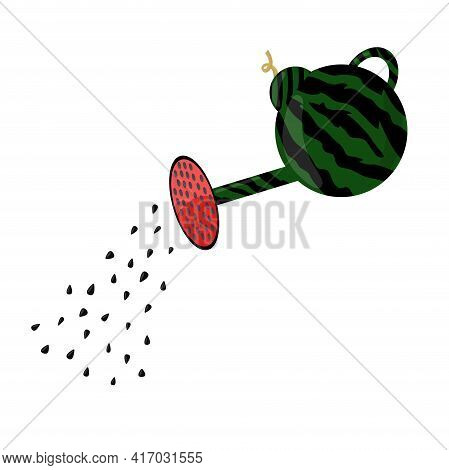 Watermelon Watering Can Isolated. Vector Illustration. Seeds Are Poured Out Of The Watering Can.