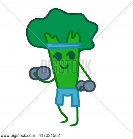 Sports Broccoli Lifts Dumbbells. Illustrations Of Broccoli Isolated On White Background. Design Elem