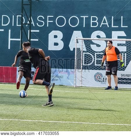 New Delhi, India - July 19 2019: Footballers Of Local Football Team During Game In Regional Derby Ch
