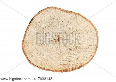 Close Up Of Cut Timber Showing The Grain Of The Timber, Isolate On White Background.
