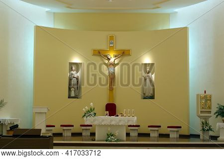 ZAGREB, CROATIA - SEPTEMBER 03, 2014: St. Matthew Parish Church in Dugave, Zagreb, Croatia