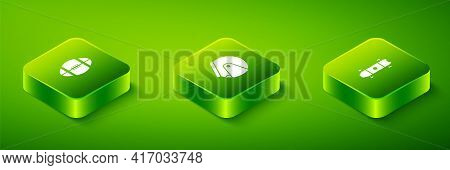 Set Isometric Helmet, Longboard Or Skateboard And Rugby Ball Icon. Vector