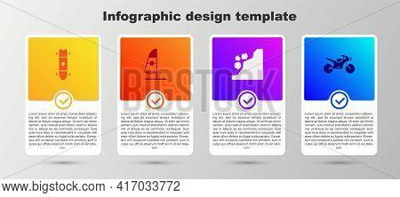 Set Longboard Or Skateboard, Windsurfing, Landslide And Motorcycle. Business Infographic Template. V