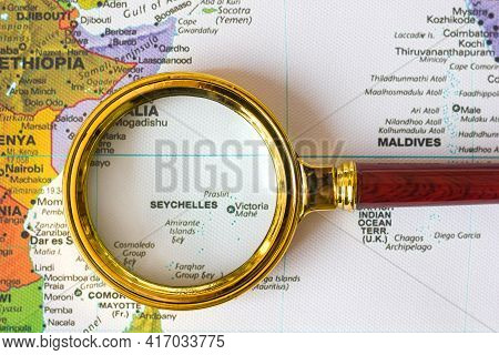 Lviv Ukraine-04 09 2021 : Seychelles And Maldives On A Map Of Asia  In A Defocused Magnifying Glass,