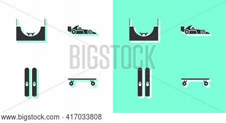 Set Longboard Or Skateboard, Skate Park, Ski And Sticks And Formula 1 Racing Car Icon. Vector