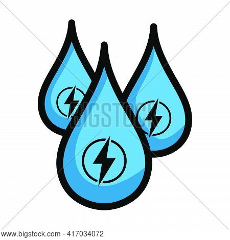 Hydro Energy Drops Icon. Editable Bold Outline With Color Fill Design. Vector Illustration.