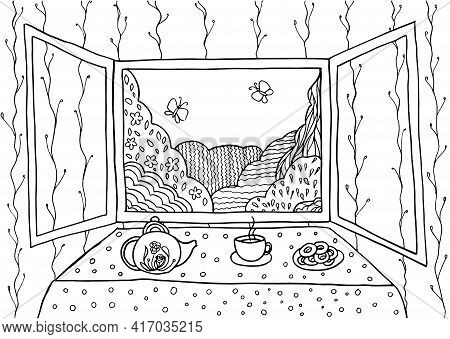Doodle Landscape In Window Coloring Page For Adults. Fantastic Graphic Artwork. Hand Drawn Simplefla