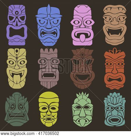 Wallpaper From A Set Of Twelve Pagan Masks. The Faces Of Various Gods, Spirits, And Other Mystical B