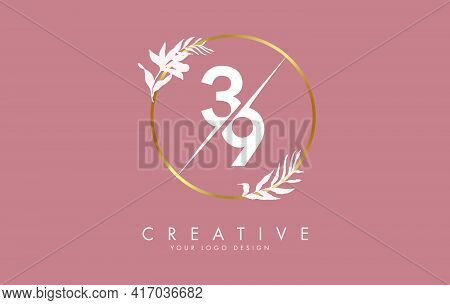 Number 39 3 9 Logo Design With Golden Circle And White Leaves On Branches Around. Vector Illustratio