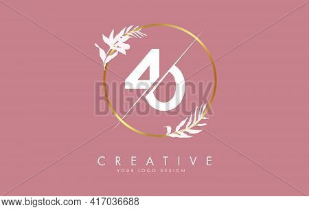 Number 40 4 0 Logo Design With Golden Circle And White Leaves On Branches Around. Vector Illustratio