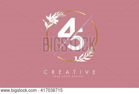 Number 45 4 5 Logo Design With Golden Circle And White Leaves On Branches Around. Vector Illustratio