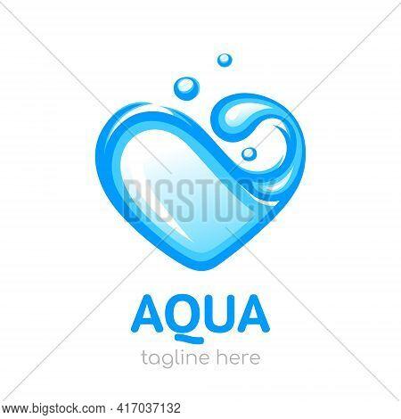 Heart-shaped Water. Aqua Logo. Design Concept Of Clean Water. Vector Illustration