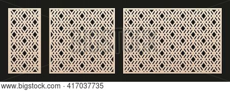 Decorative Panels For Laser Cutting. Cutout Silhouette With Abstract Geometric Pattern, Diamond Grid