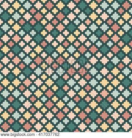 Vector Abstract Geometric Seamless Pattern. Stylish Texture With Simple Small Colorful Organic Shape