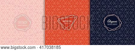 Vector Geometric Seamless Patterns With Modern Minimal Labels, Frames. Elegant Textures Set With Flo