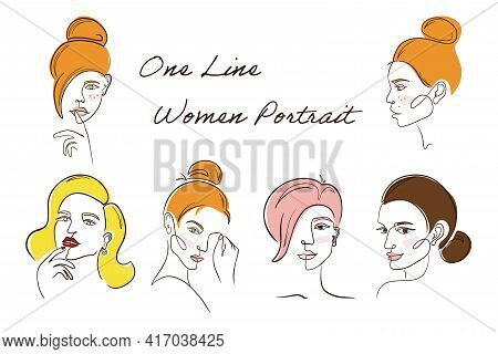 One Line Women Portrait Set. Continuous Line Drawing Colorful Women Faces Set In Minimal Line Style.