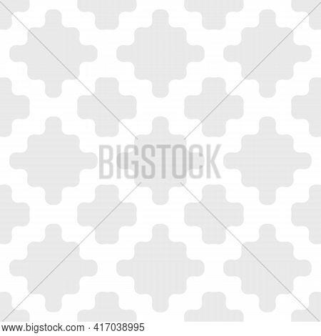 Vector Abstract Geometric Seamless Pattern. Subtle Texture With Simple Organic Shapes, Curved Mesh,