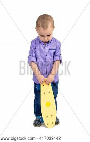 Punished Boy For Hooliganism, Child Sad With Skateboard.