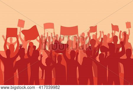 Peaceful Protest And Revolution. Silhouette Of Riot Protesting Crowd Demonstrators With Banners And