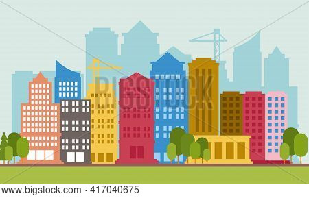 Vector Illustration Of Colorful Urban Skyline. Perfect For Design Element From Downtown And Modern U