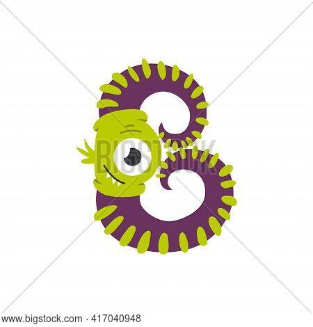 Monster Alphabet Symbol. Letter B Of English Alphabet Shaped As Monster. Children Colorful Cartoon F