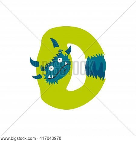 Monster Alphabet Symbol. Letter D Of English Alphabet Shaped As Monster. Children Colorful Cartoon F