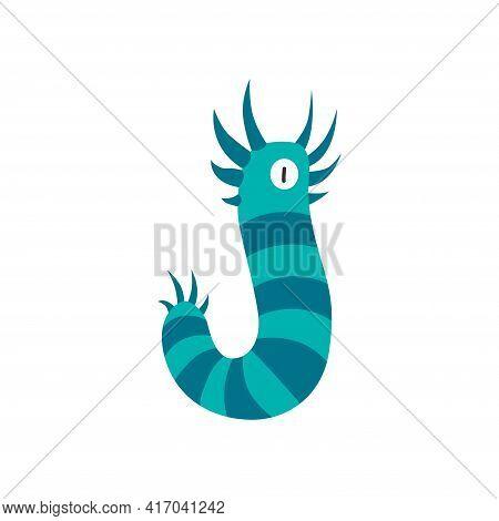 Monster Alphabet Symbol. Letter J Of English Alphabet Shaped As Monster. Children Colorful Cartoon F