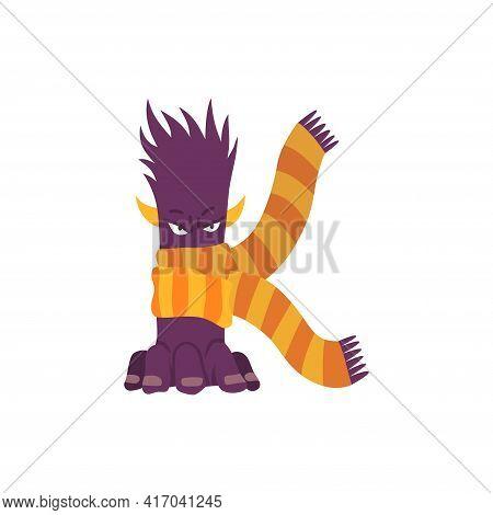 Monster Alphabet Symbol. Letter K Of English Alphabet Shaped As Monster. Children Colorful Cartoon F