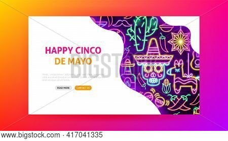 Happy Cinco De Mayo Neon Landing Page. Fifth Of May Translate. Vector Illustration Of Industrial Pro