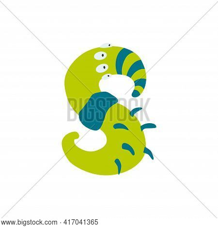 Monster Alphabet Symbol. Letter S Of English Alphabet Shaped As Monster. Children Colorful Cartoon F