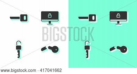 Set Broken Key, Key, Unlocked And Lock On Computer Monitor Icon. Vector