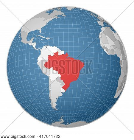 Globe Centered To Brazil. Country Highlighted With Green Color On World Map. Satellite World Project