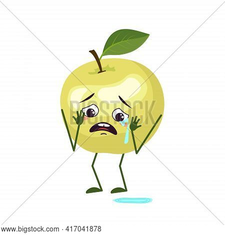 Cute Apple Characters With Crying And Tears Emotions, Face, Arms And Legs. The Funny Or Sad Hero, Gr