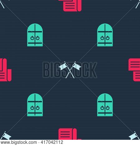 Set Decree, Parchment, Scroll, Crossed Medieval Flag And Medieval Castle Gate On Seamless Pattern. V