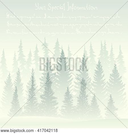 Square Illustration Of Winter Card With Foggy Coniferous Forest, Place For Text.